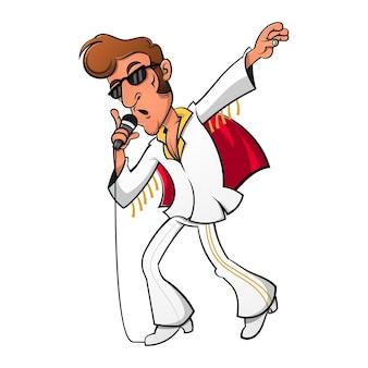 Homme chantant dans un style vintage avec des cheveux pompadour et un vecteur de dessin animé de pantalon cutbray