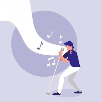Homme chantant avec microphone rétro
