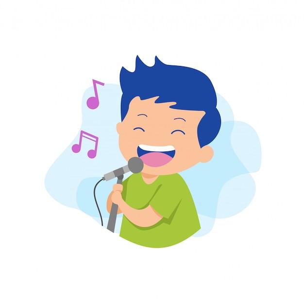 Homme chantant un vecteur karaoké