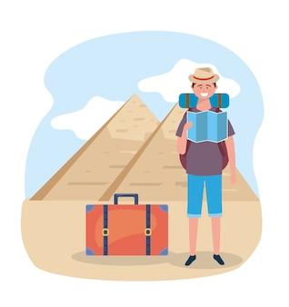 Homme, chapeau, et, sac à dos, à, pyramide égyptienne, destination
