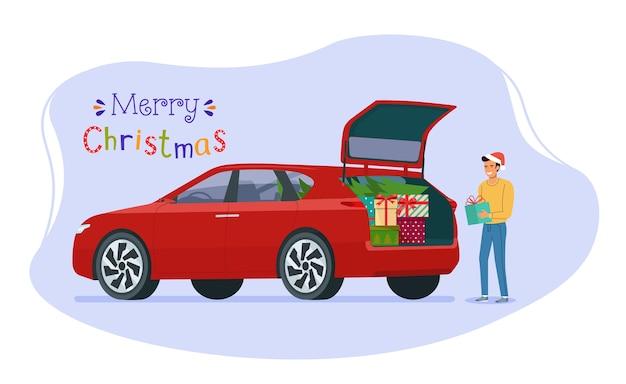 Homme chargeant des cadeaux de noël dans le coffre d'une voiture. illustration de style plat.