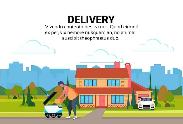 Homme chargement boîte robot auto conduire livraison rapide marchandises maison cour extérieur fond ville voiture