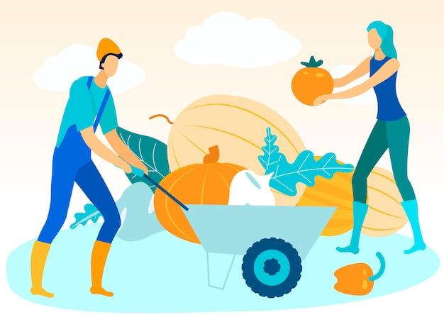 Homme avec chariot à la main. femme plie des légumes.