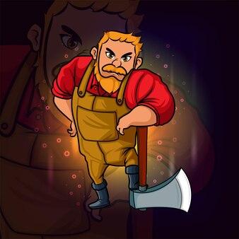 L'homme de charpentier avec la conception de logo d'esport de grande hache d'illustration