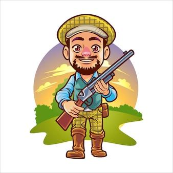 Homme de chasse de dessin animé