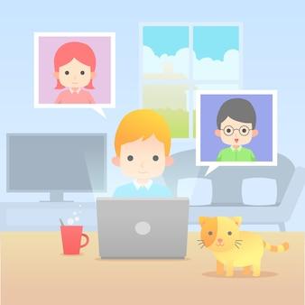 Homme avec chat travaillant