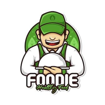 Homme de chef des aliments sains avec logo mascotte couvercle plat