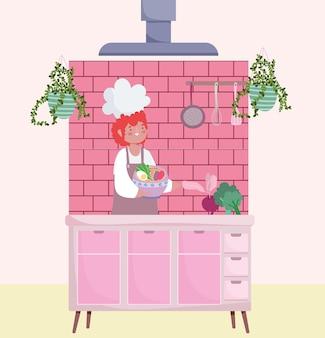 Homme chef cuisinier avec bol