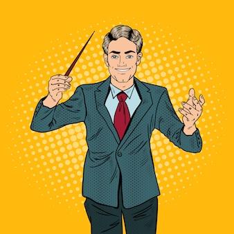 Homme de chef d'orchestre de musique pop art avec un bâton.