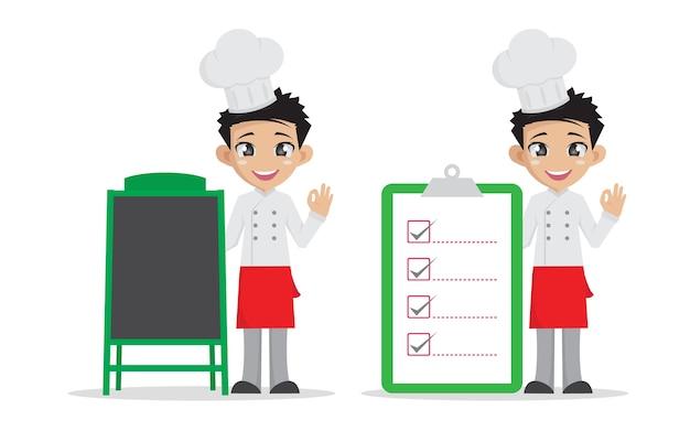 Homme chef, pointage, bois, menu menu, et, grande, liste contrôle.