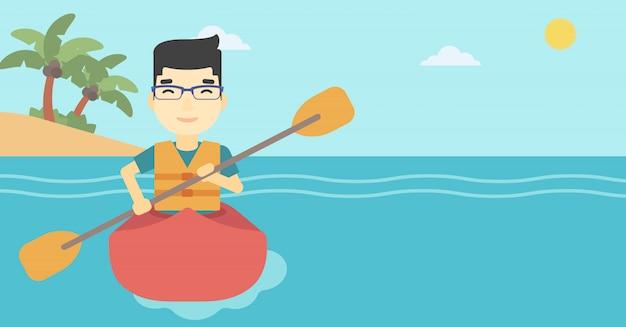 Homme à cheval dans l'illustration vectorielle de kayak.