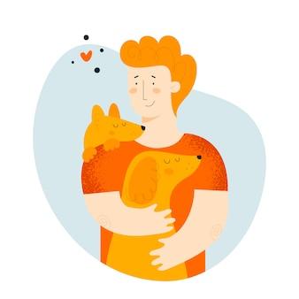 Homme et chiens
