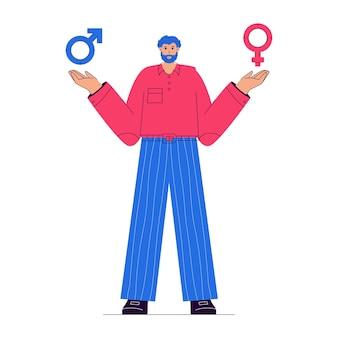 L'homme choisit entre les symboles masculins et féminins