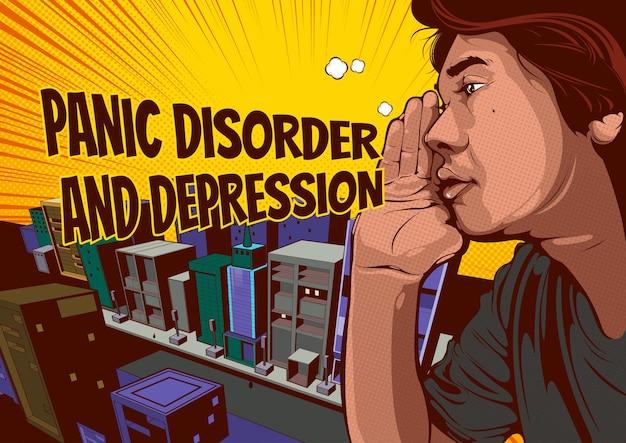L'homme chuchote ou crie ou potins, bulles sur le trouble panique et la dépression, bande dessinée pop art