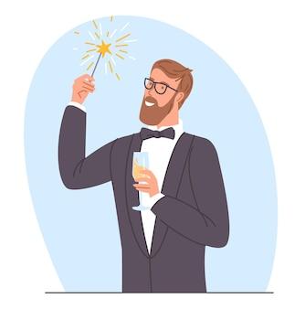 Homme avec des cierges magiques dans ses mains