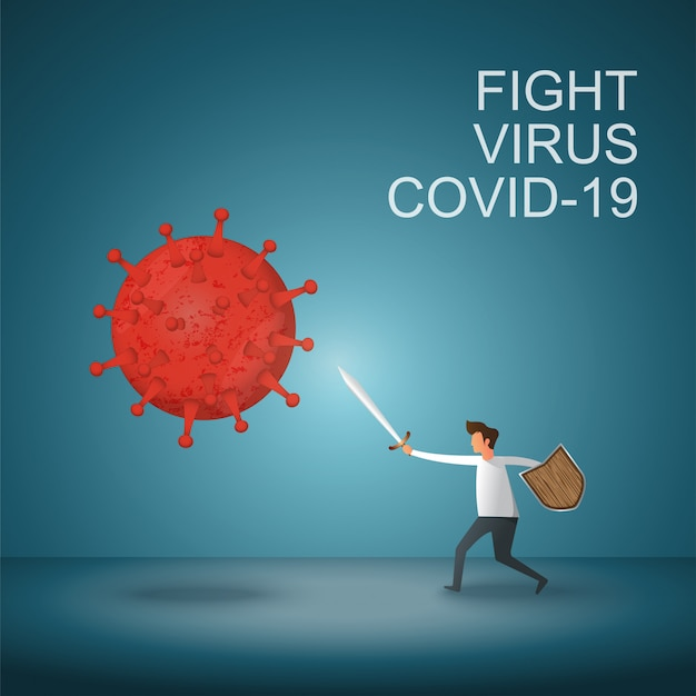 L'homme combat le virus corona covid-19. guérir le virus corona. les gens combattent le concept de virus. concept de vaccin contre les virus corona.