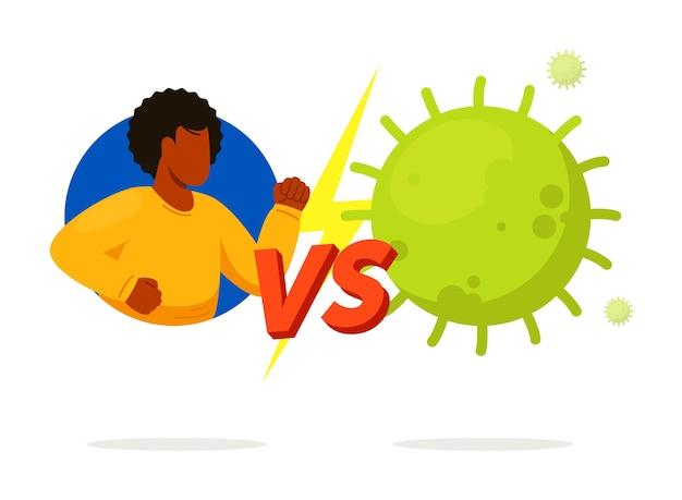 Homme de combat vs virus isolé sur fond blanc