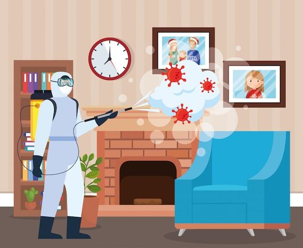 Homme, à, combinaison protectrice, pulvérisation, maison, salle, à