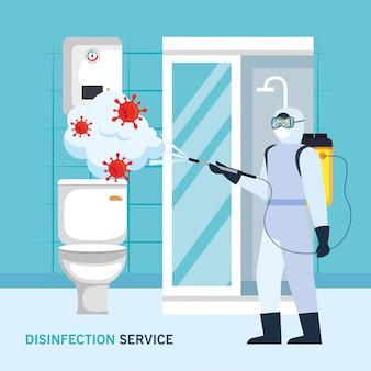 Homme, à, combinaison protectrice, pulvérisation, salle bains, à