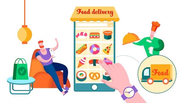 Homme, commande, nourriture, restaurant, chez soi, livraison