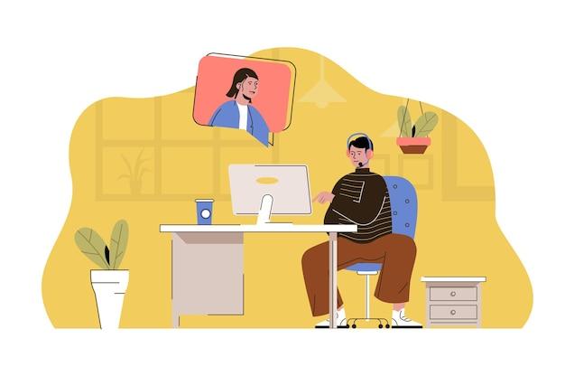 L'homme de concept de centre de support consulte le client dans le chat vidéo