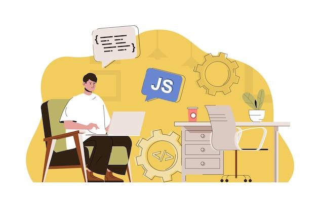 L'homme de concept de développeur frontal crée une programmation javascript de page web