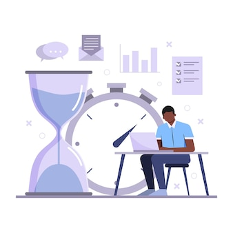 Homme de concept de gestion du temps travaillant