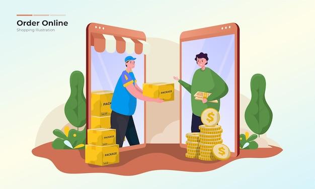 Un homme avec le concept d'illustration d'achats en ligne