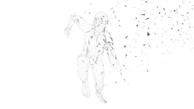 Homme conceptuel abstrait en cours d'exécution. coureur avec lignes connectées
