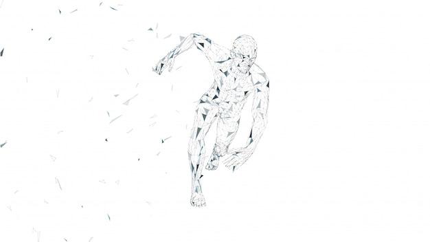 Homme conceptuel abstrait en cours d'exécution