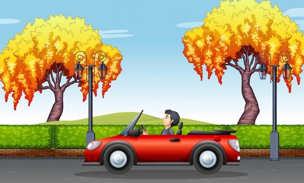 Homme conduisant une voiture décapotable dans le parc