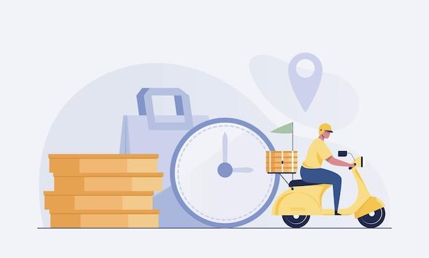 Un homme conduit une moto scooter pour la livraison de nourriture. illustration vectorielle