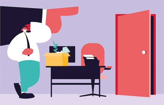 Homme congédié avec boîte, main de grand patron pointant sur la porte