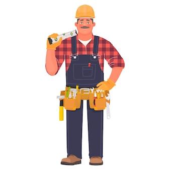 Homme de constructeur dans un casque et avec des outils. contremaître ou ouvrier du bâtiment sur blanc