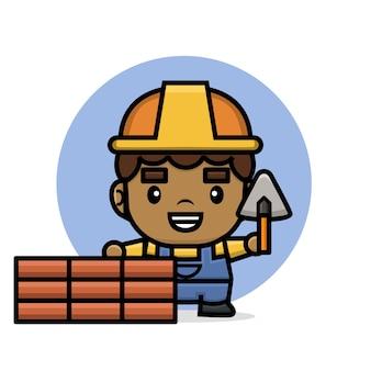 Homme de constructeur de personnages mignons construisant un mur de briques avec une spatule