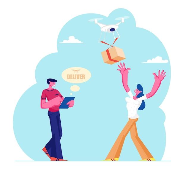 Homme, contrôle, drone, livrer, colis colis, à, femme, caractère, consommateur
