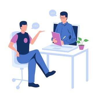 Homme, conversation, par, appel vidéo