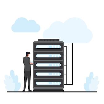 L'homme corrige l'hébergement cloud sur le serveur. illustration d'hébergement cloud plat.