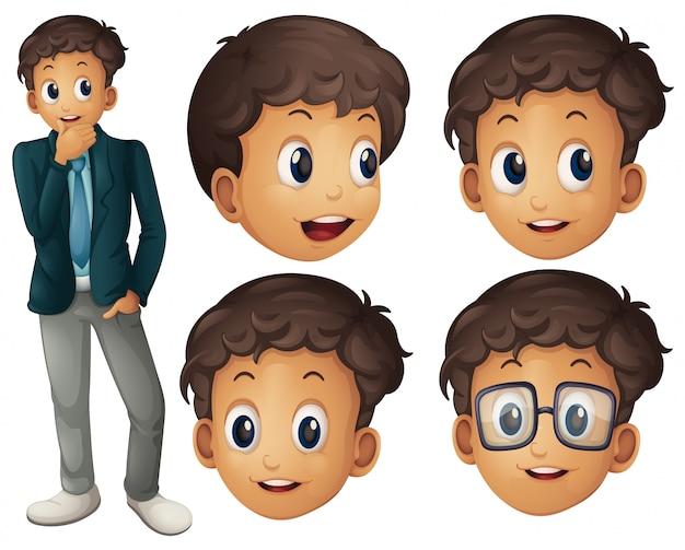 Homme en costume avec différentes expressions faciales