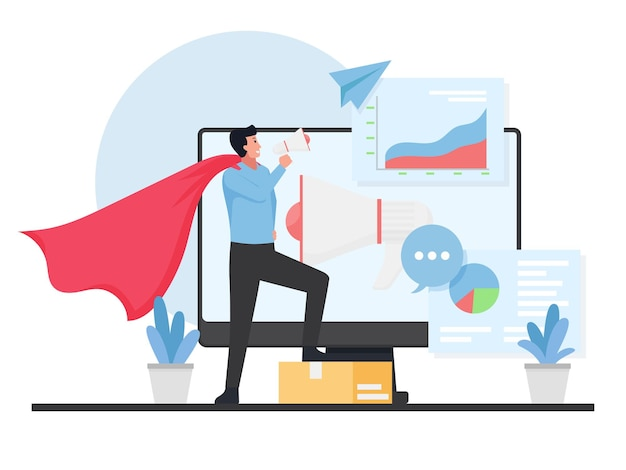 Homme avec costume de héros tenir un mégaphone devant l'écran avec infographie.