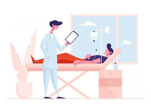 Homme couché dans la chambre du département de la clinique à l'hôpital appliquant un traitement compte-gouttes.