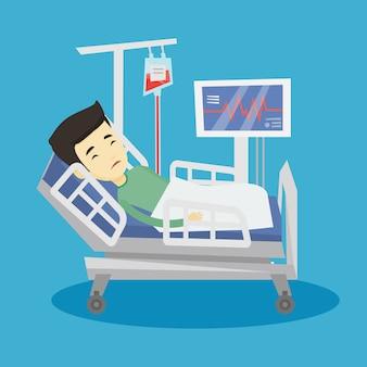 Homme couché dans l'illustration du lit d'hôpital.