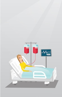 Homme couché dans illustration vectorielle de lit d'hôpital.