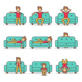 Homme couché paresseux et effrayant sur un canapé