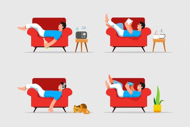 Homme couché et se détendre sur le canapé vector illustration