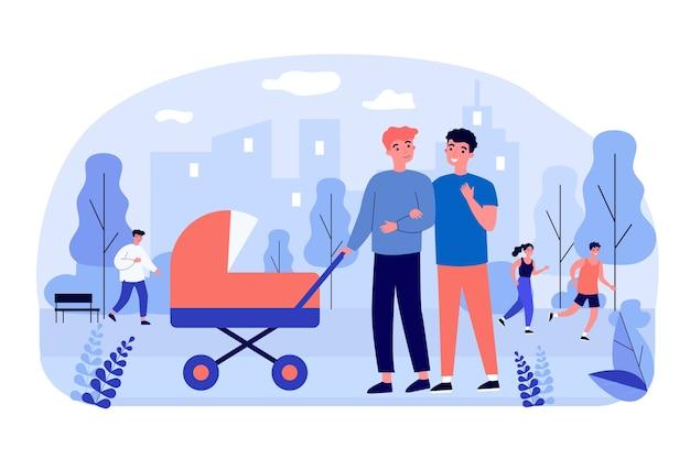Homme couple gay marchant avec bébé à l'extérieur.