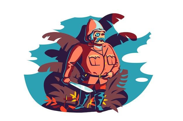Homme courageux voyageur et explorateur illustration vectorielle. à la recherche de nouveaux horizons, objectifs de vie à plat. concept de découverte, d'exploration, de voyage et de tourisme. isolé sur fond blanc