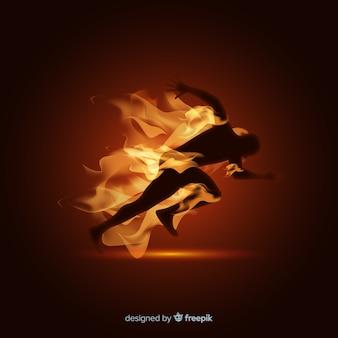 Homme, coureur, flammes, fond