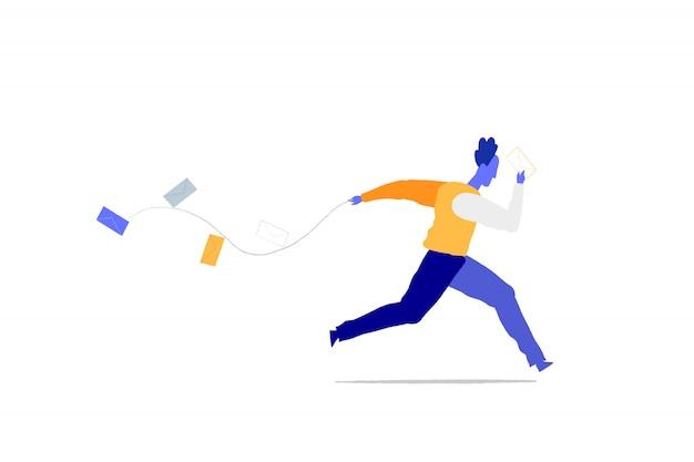 Un homme court pour livrer des mails