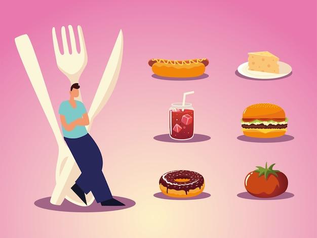 Homme, à, coutellerie, burger, sandwich, beignet, fromage, et, jus, nourriture, illustration